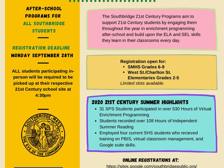 Registrations for the 21st Century After School Programs (Las inscripciones para los programas extra