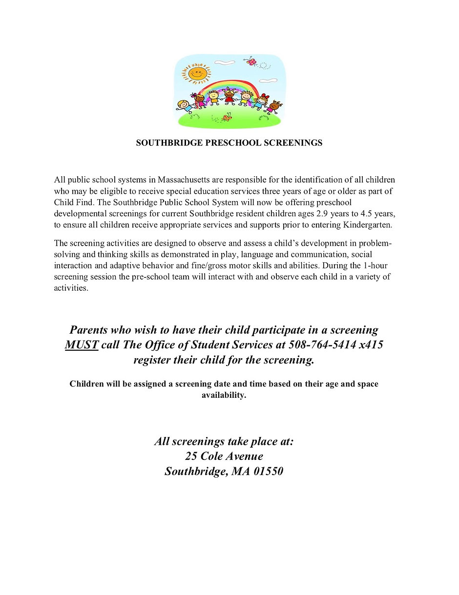English flyer for preschool screenings. All information on the flyer is also on the page as readable text.