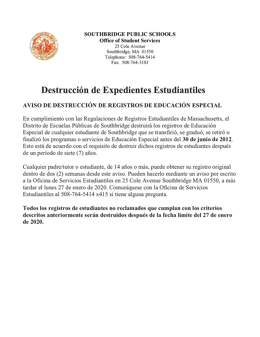 Image of letter in Spanish regarding student records with link to the document