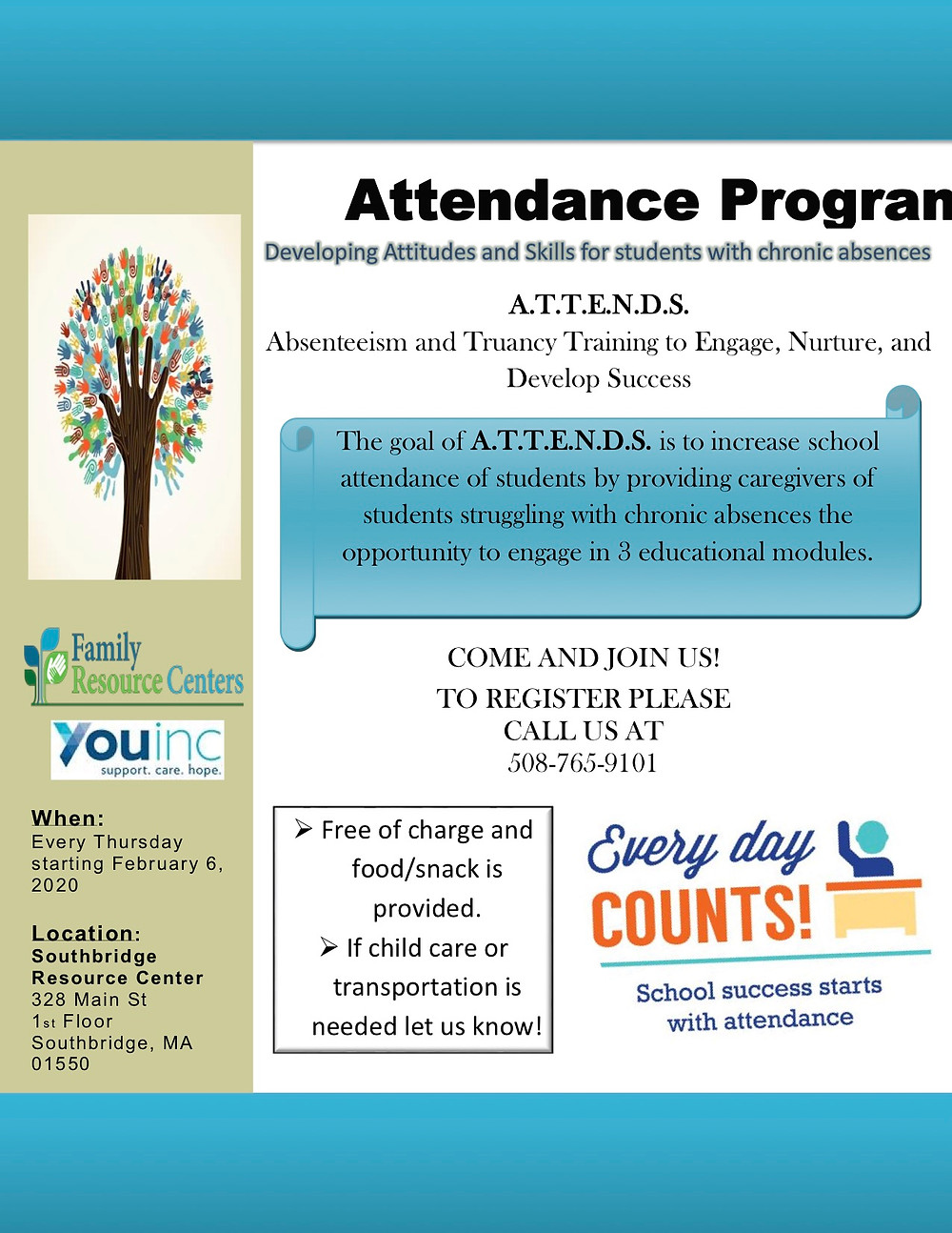 Flyer for a local program promoting school attendance in Spanish