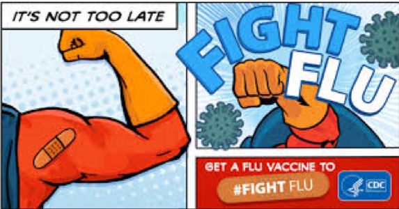 """Comic book style image from the CDC with wording """"It's not to late"""" and """"Fight Flu"""""""