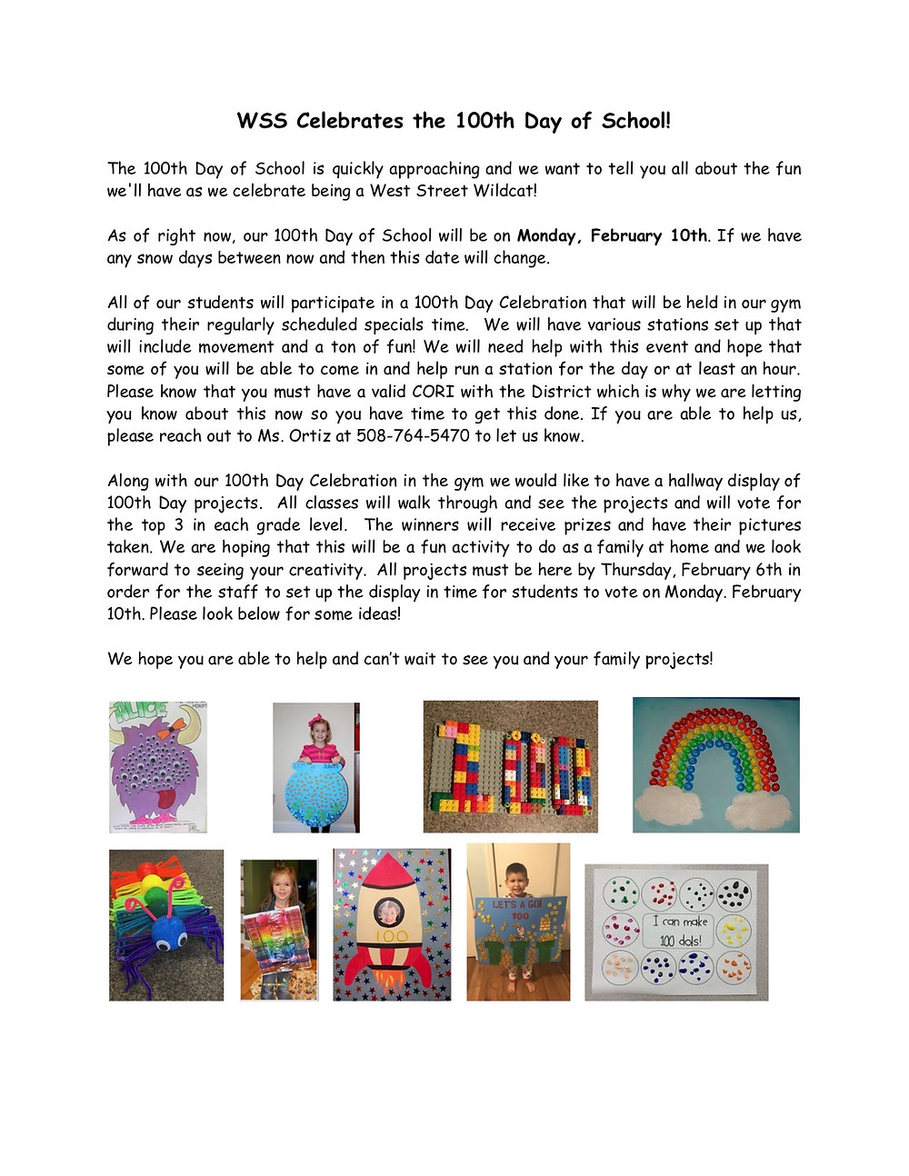 West Street School 100th day of school flyer in English. Click for PDF
