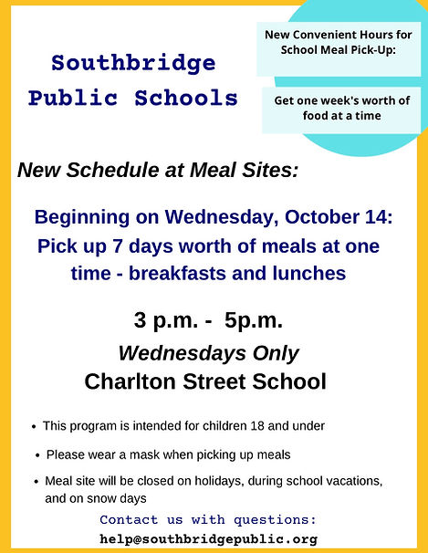 Flyer announcing new meal sites - 7 days worth of meals available on Wednesdays
