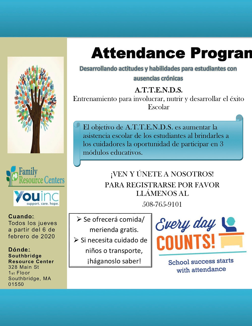 Flyer for a local program promoting school attendance in English