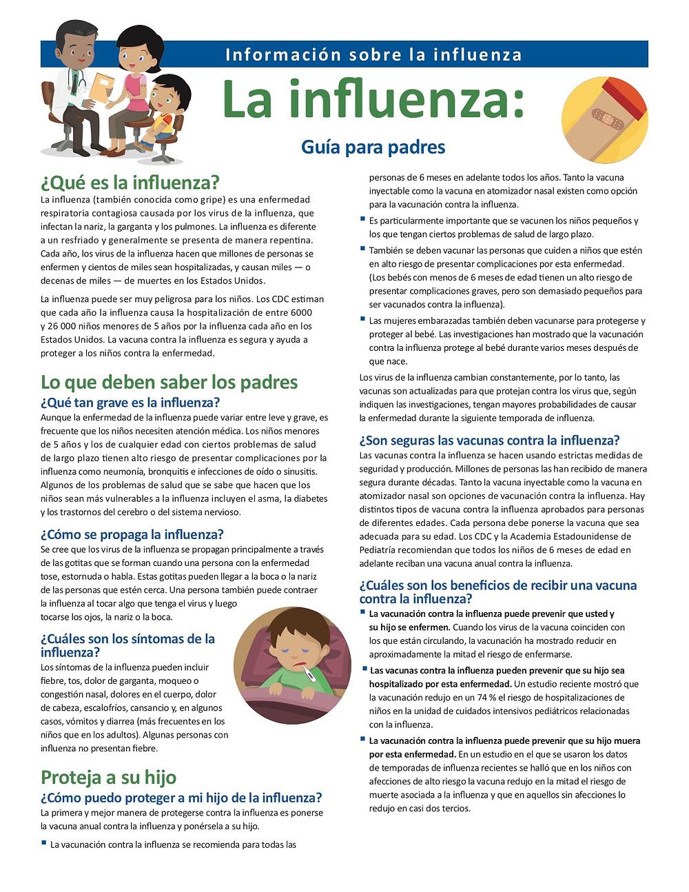 Flu information page 1 en Espanol