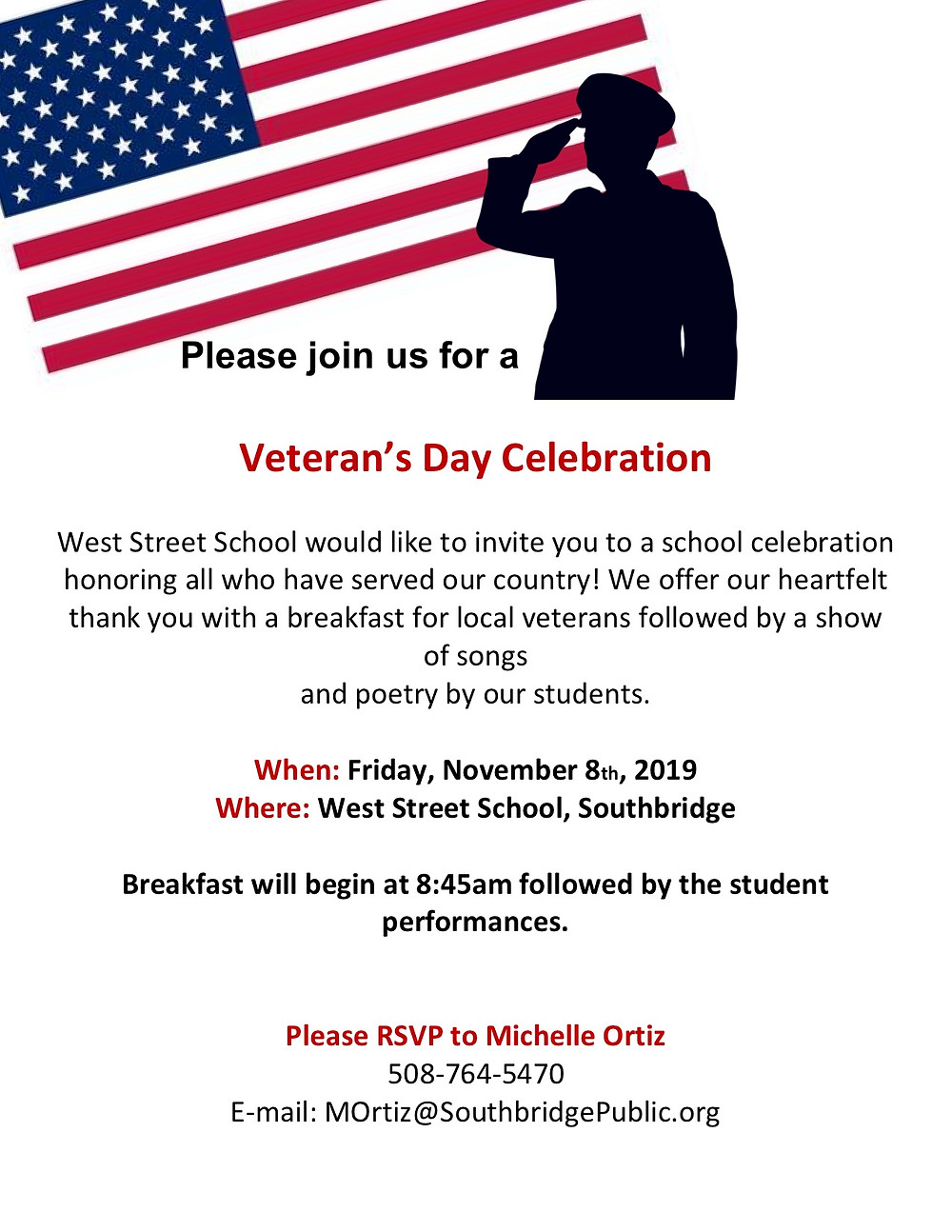 Flyer inviting local veterans to Veterans' Day celebration at West Street Elementary School