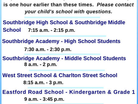 School Hours at Each School 2020 - 2021
