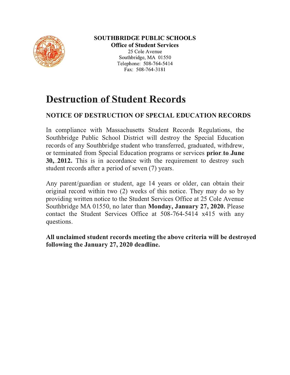 Image of letter regarding student records with link to the document