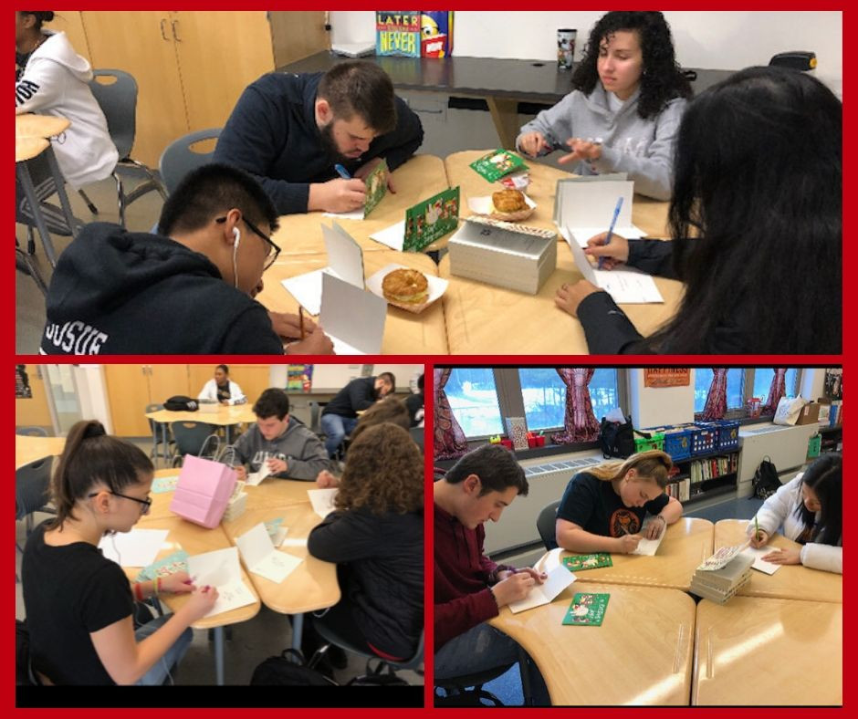 Three photos in a grid of students writing cards to military members for a long-term project.