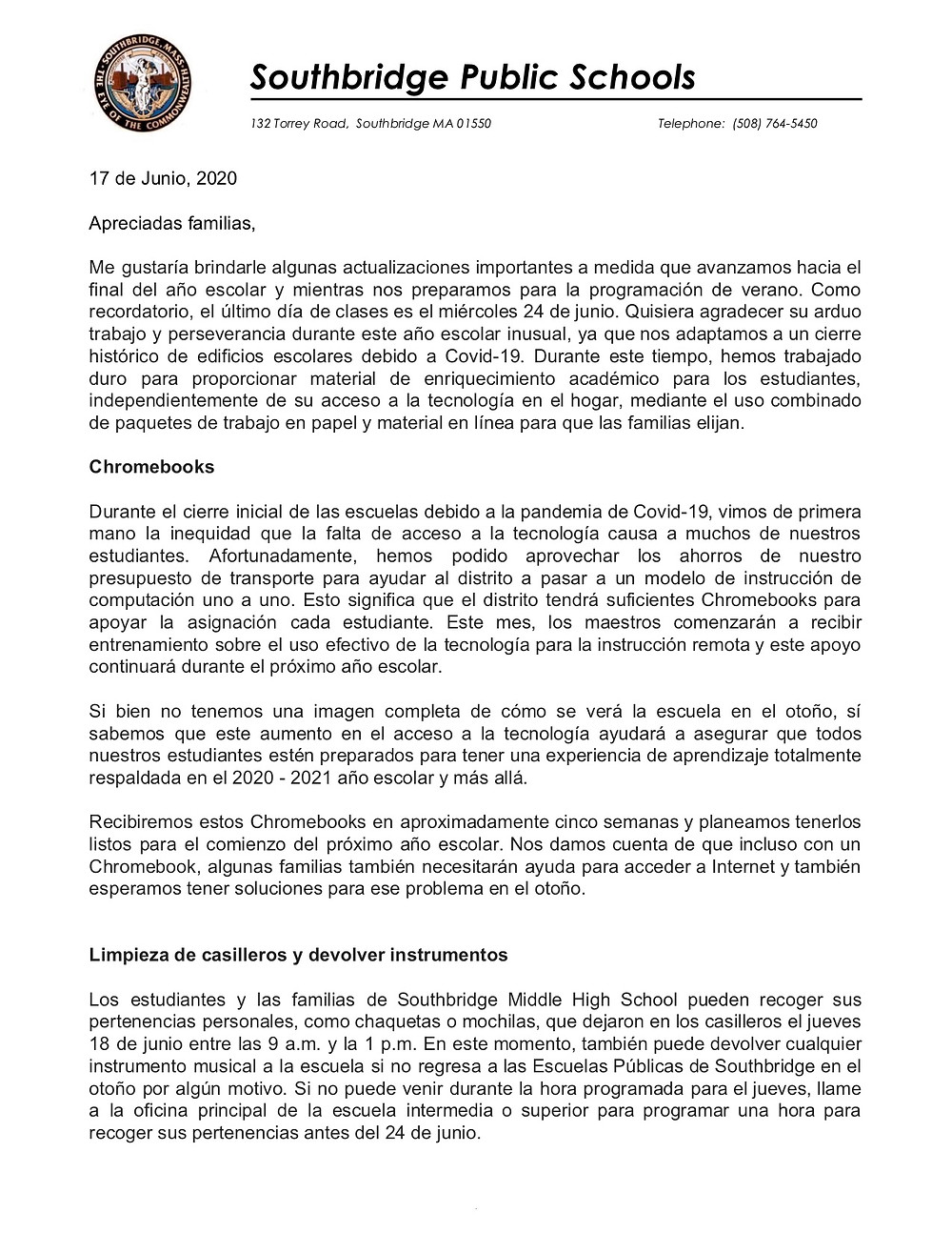 Image of the letter which is also in the body of this email. Spanish version. Click for a PDF of the letter