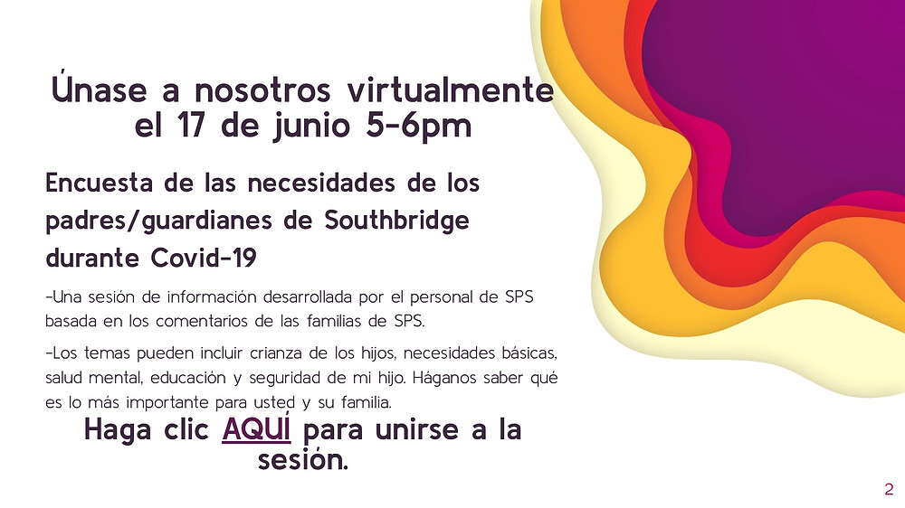 graphic about the virtual info session in Spanish.  All information is also in the body of the post.