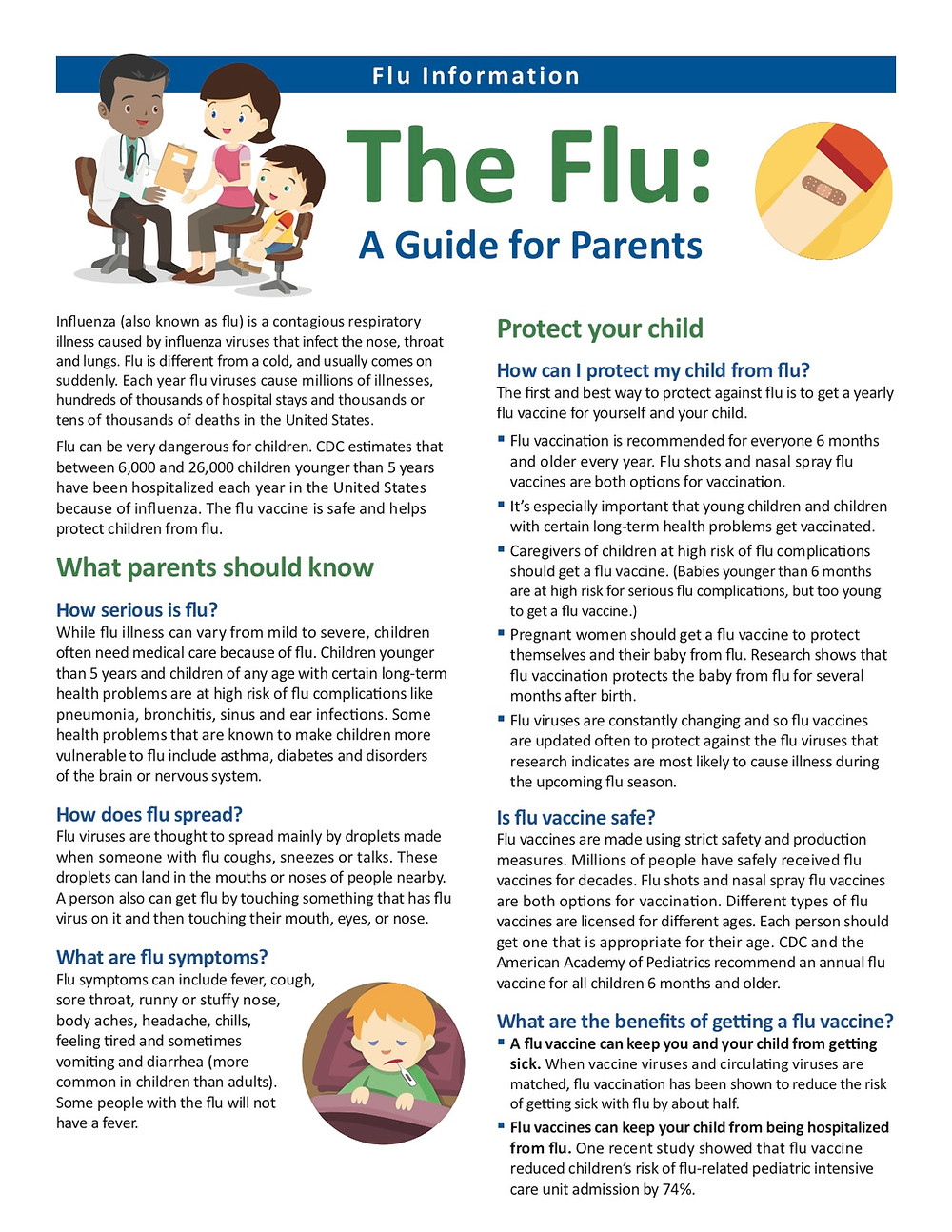 Flu information page 1 in English