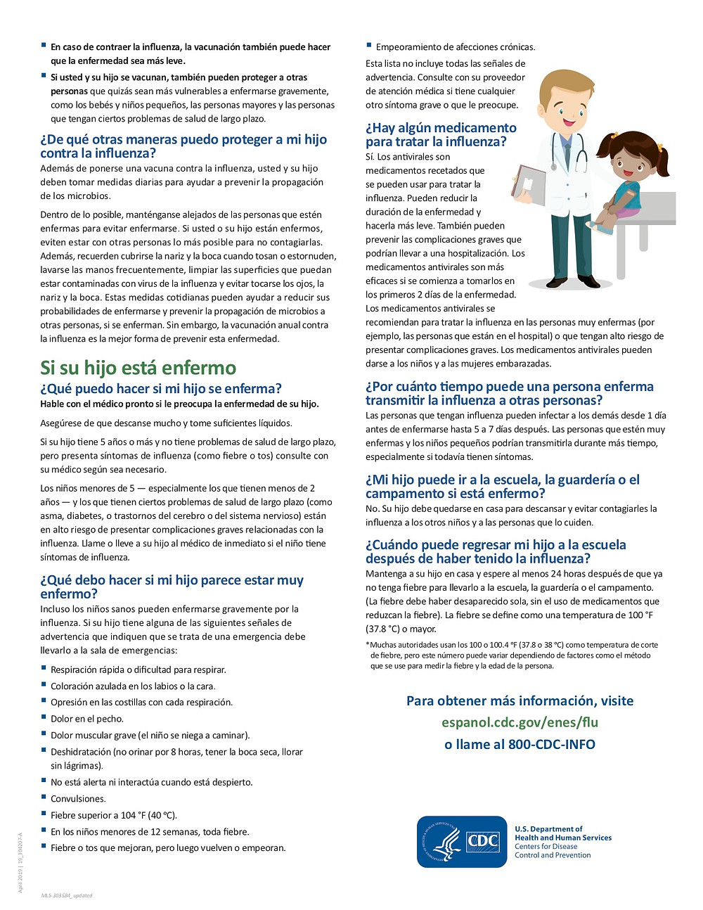 Flu information page 2 en Espanol