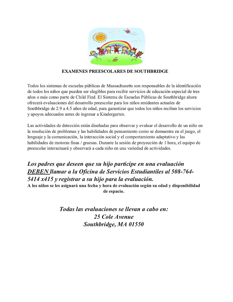 Spanish flyer for preschool screenings. All information on the flyer is also on the page as readable text.