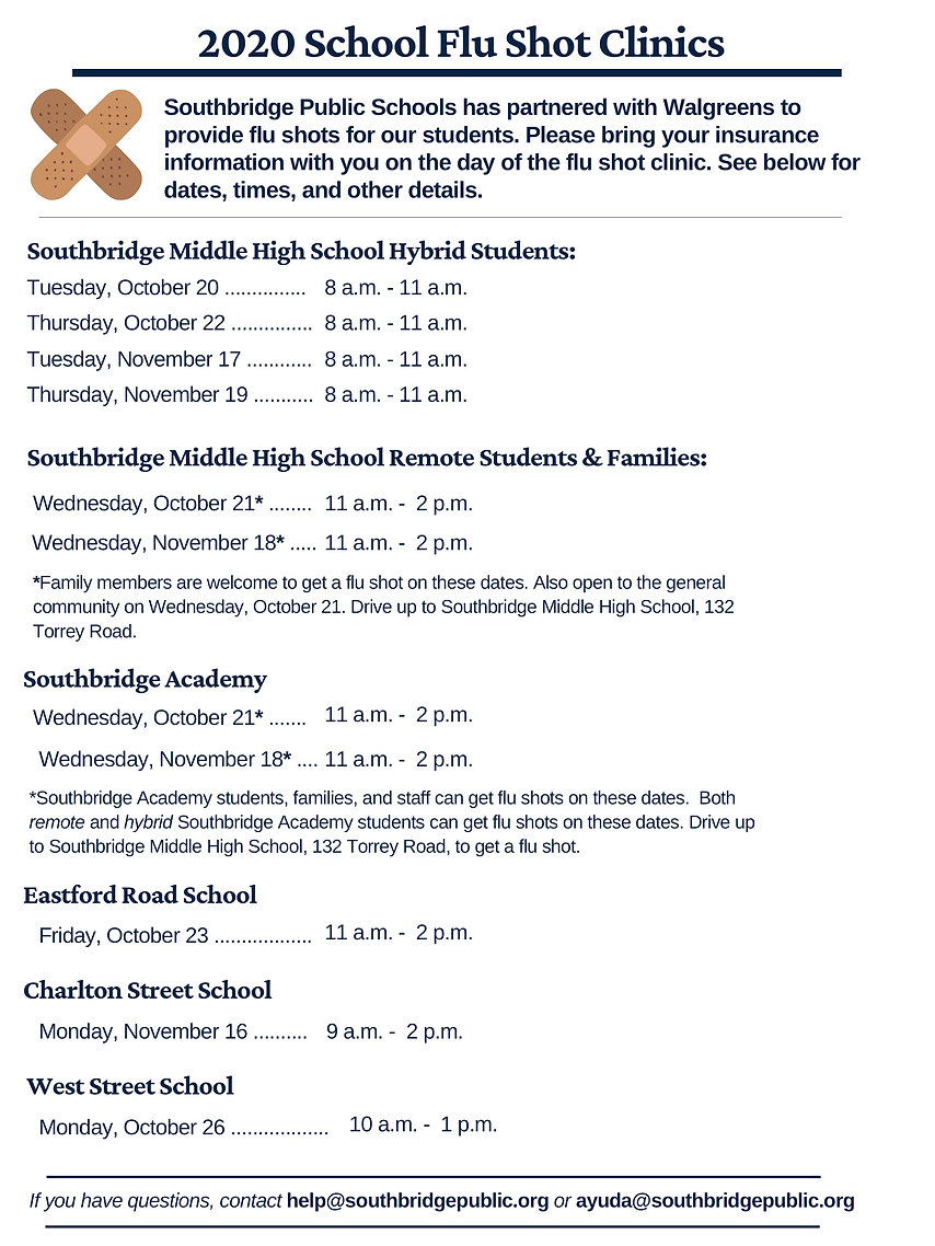 Flu Shot Clinic Dates and times in English