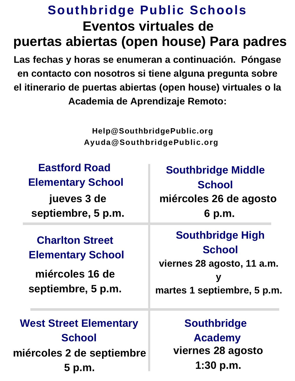Flyer in Spanish for virtual open house events. All content is also available in the body of this blog post