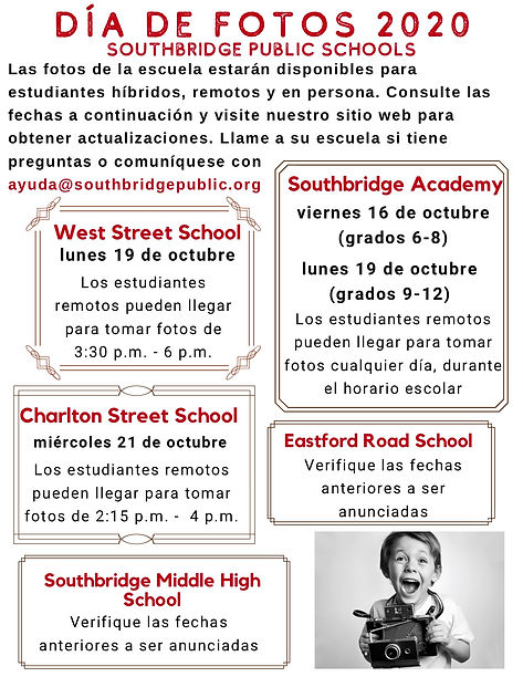 Flyer of dates for school picture day in Spanish. Click for a PDF version.