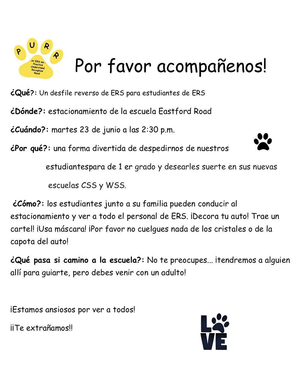 Flyer in Spanish. All information on this flyer is in the body of the blog post.