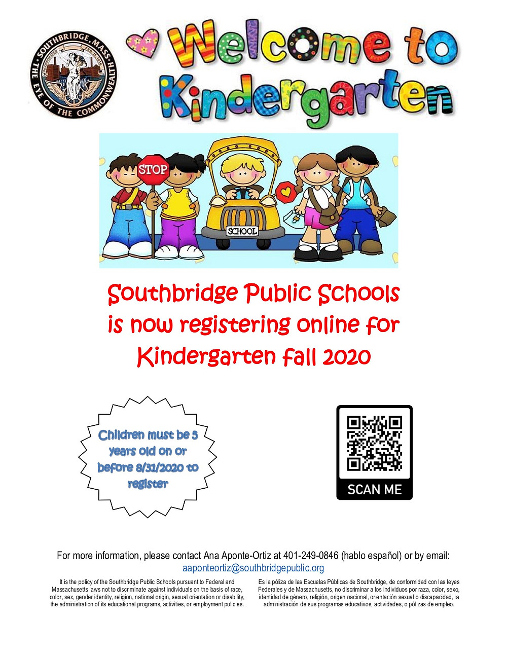 Kindergarten Flyer in English.  All information on the flyer is also in the body of the blog post.