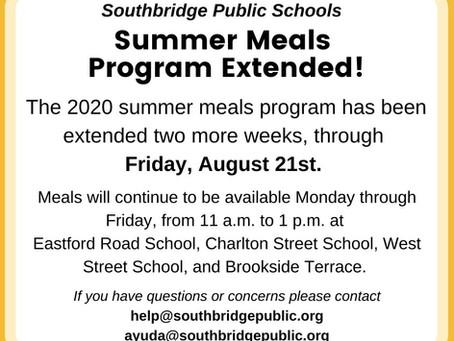 Summer Meals  Program Extended (Programa de comidas de verano extendido)