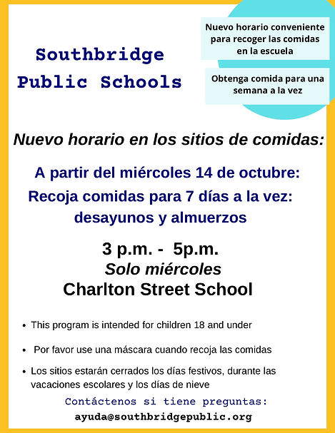 information about the schedule for school meal pick up in Spanish