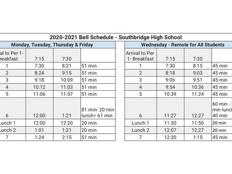 Southbridge High School Bell Schedule (Horario de la campana de la Escuela Superior de Southbridge)