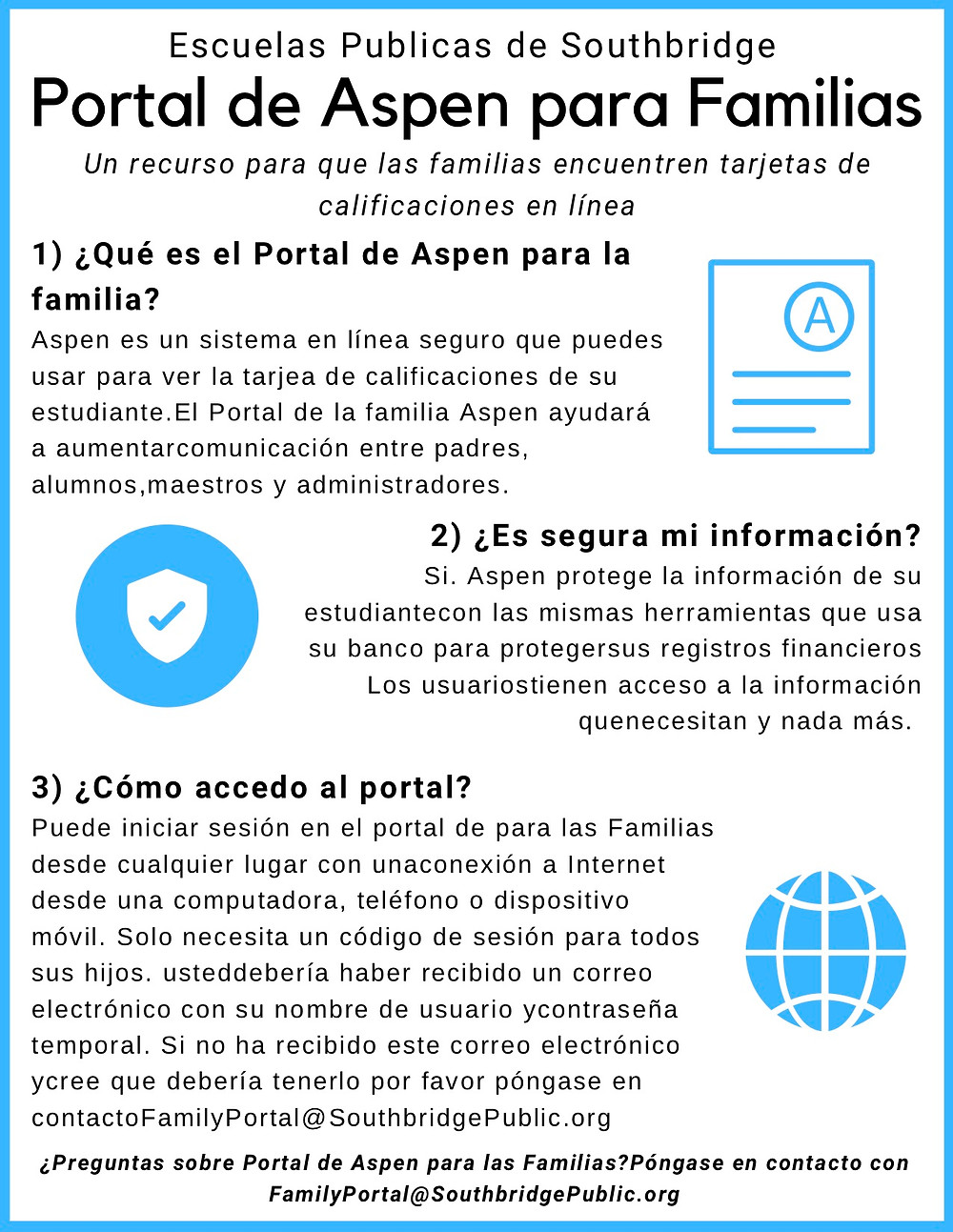 Informational flyer about the Aspen Family Portal in Spanish. Information on this flyer is also available by clicking the image.