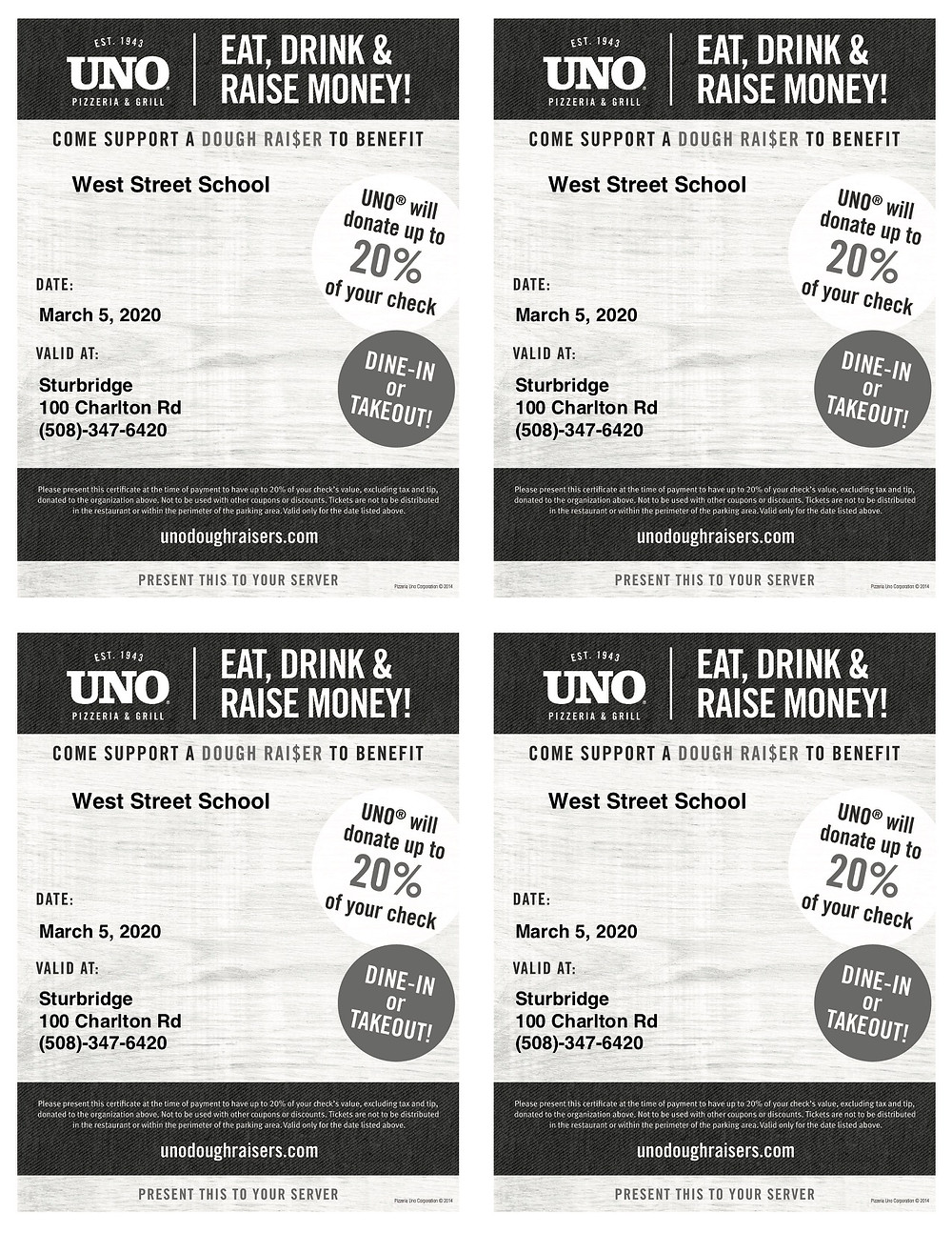 Flyer for the Pizzeria Uno fundraiser for West Street School's PBIS program