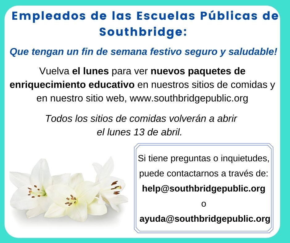A Spanish language graphic announcing new educational materials available on Monday. All text from this graphic is also in the body of the text.