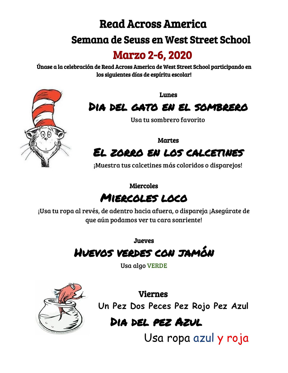Flyer for Read Across America at West Street School in Spanish