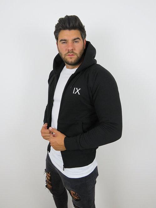 IX logo zip up Hoodie - Black