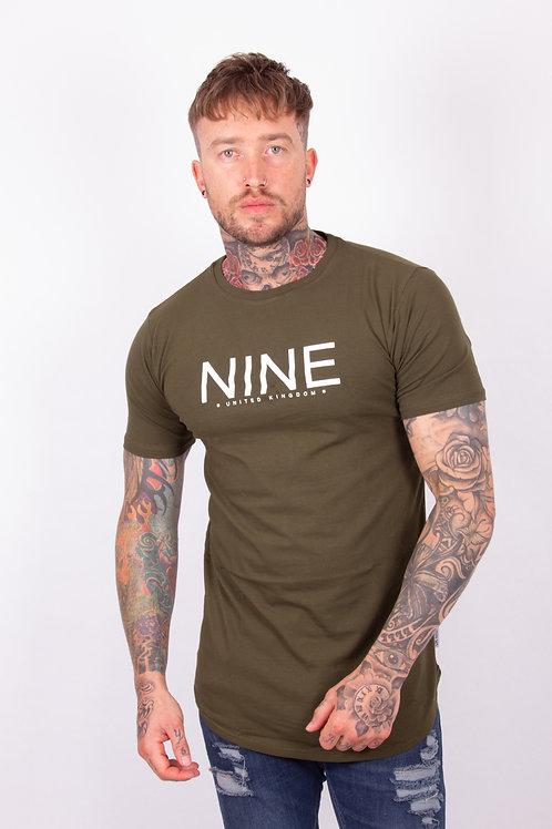 NINE Longline Tee - Khaki
