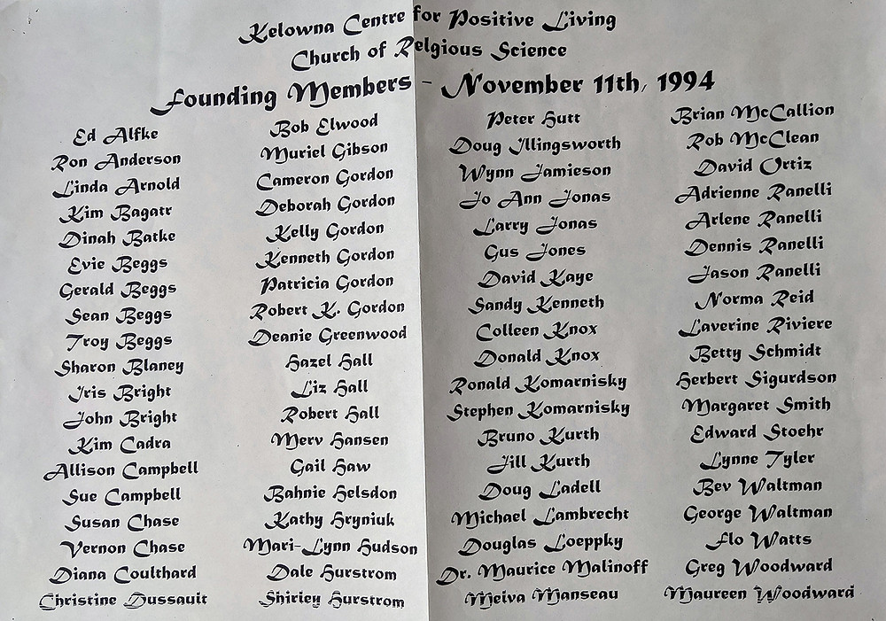 1994 Founding members, Kelowna Centre for Positive Living