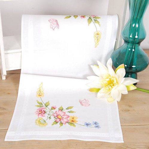 Vervaco Spring Flowers Table Runner Cross Stitch Kit