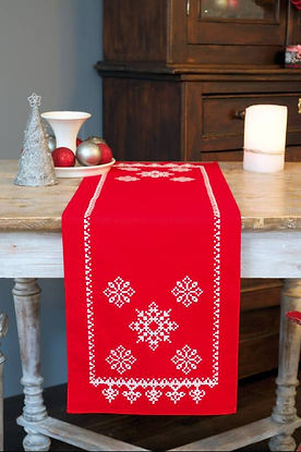 Vervaco Christmas Snowflakes Table Runner Cross Stitch Kit