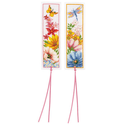 Vervaco Flowers Bookmarks (set of 2) Floral Nature Cross Stitch Kit
