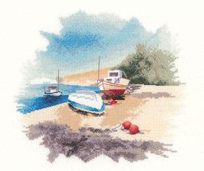 Heritage Crafts John Clayton Fishing Boats Cross Stitch Kit