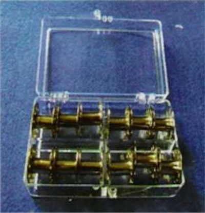 Metal Sewing Machine Bobbins in Case