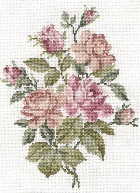 DMC Pink Roses Cross Stitch Kit