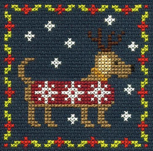 DMC Christmas Mini Cross Stitch Festive Puppy