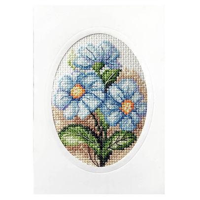 Orchidea Blue Flowers Floral Cross Stitch Card Kit