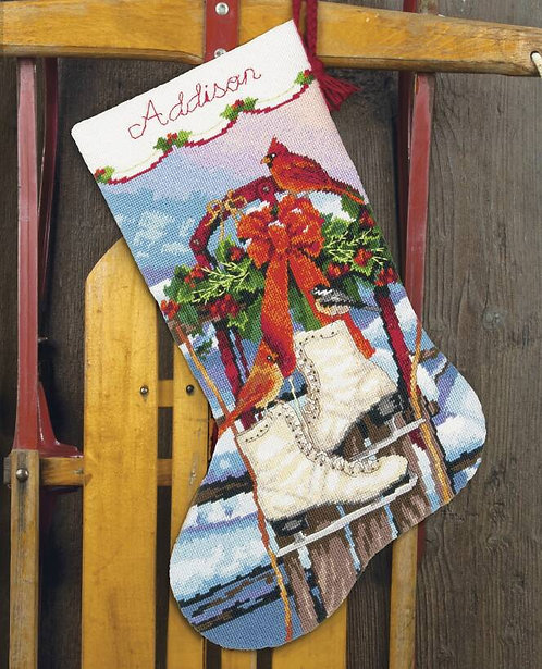 Dimensions Ice Skates Christmas Stocking Needlepoint Kit
