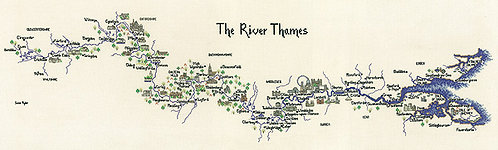 Heritage Crafts Map of the River Thames Cross Stitch Kit