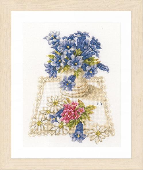 Lanarte Blue flowers Cross Stitch Kit