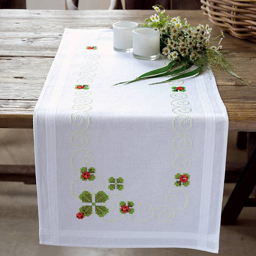 Vervaco Four Leaf Clover Table Runner Cross Stitch Kit
