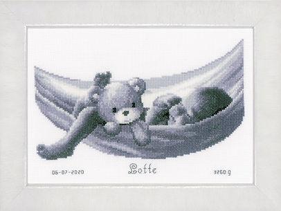 Vervaco Baby and  Teddy in Hammock Birth Sampler Cross Stitch Kit
