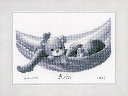 Vervaco Baby and  Teddy in Hammock Birth Sampler Cross Stitch Kit
