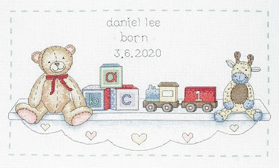 Anchor The Toy Shelf Baby Birth Sampler Cross Stitch Kit