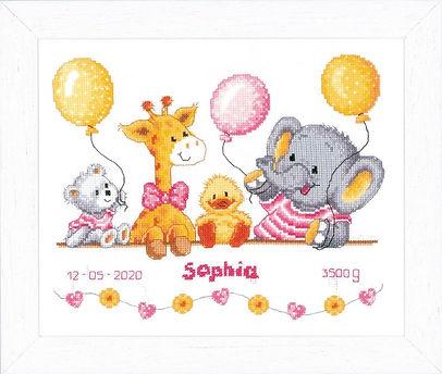 Vervaco Baby Shower Birth Sampler Cross Stitch Kit