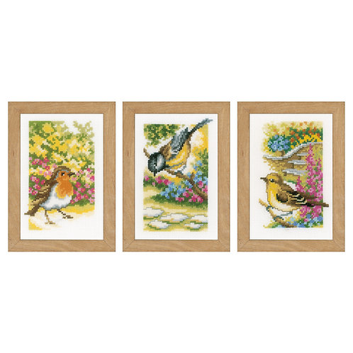 Vervaco Birds in the Garden (set of 3) Floral Nature Cross Stitch Kit